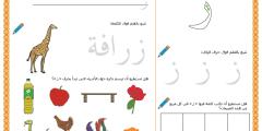 أوراق عمل متنوعة المهارات لحرف الزاي
