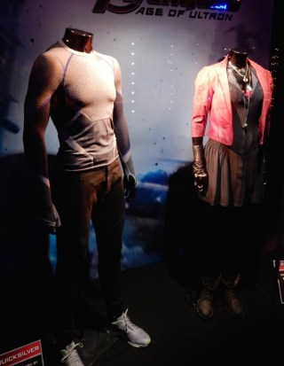 Photo of costumes for scarlet witch and quicksilver on display