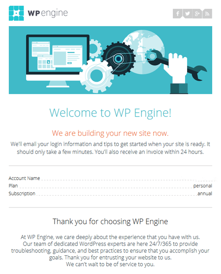 WP Engine Welcome Email