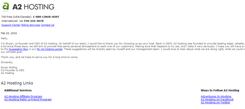 A2 Hosting CEO Welcome Email