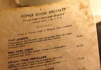 Copper Room: A Menu Trapped in Amber