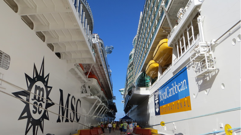 Cruise ships docked next to each other