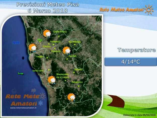 Previsioni meteo a Pisa: piogge sparse