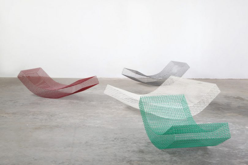 Curved, Outdoor Loungers Made of Stainless Steel Netting