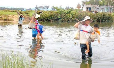 Phu huynh lieu minh 'cap' con vuot song di hoc - Anh 1