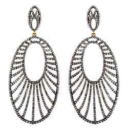 14K Gold Pave Diamond Designer Silver Earrings
