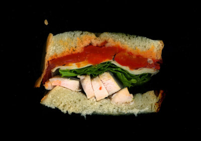 Urban Rustic: Roast Peppers, Grilled Chicken, Swiss, Lettuce, on white bread