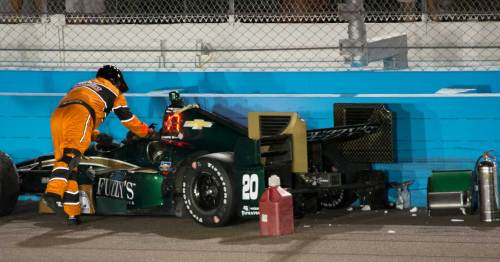 Ed Carpenter was challenging Will Power for P2 when he lost downforce in Power's wake and slid into the wall.