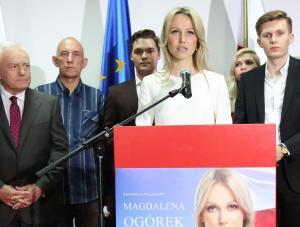 Kandydatka SLD na prezydenta RP Magdalena Ogórek oraz lider Sojusz Leszek Miller podczas wieczoru wyborczego