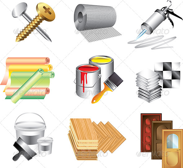 stock vector graphicriver building materials icons vector set