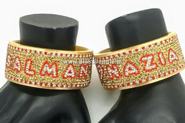 Now you can get your name etched into glass bangles-Couple name bangles