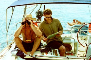 Parker and Drew scan the horizon for landmarks. The rest of the crew is fast ready for Mykonos.