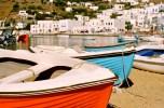 Colorful boats in Mykonos harbor.