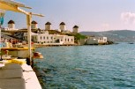 Known as Little Venice, the stores and restaurants in Mykonos Chora are built directly on the harbor./\