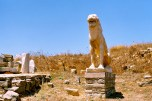 On the island of Delos. The Terrace of Lions, a monument dedicated to Apollo, who is said to have been born from the Sacred Lake on Delos.