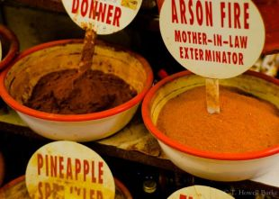 Arson Fire is apparently a popular spice, available at all of the Victoria St. Market's spice shops.
