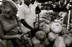 Purchasing a pumpkin at the market.