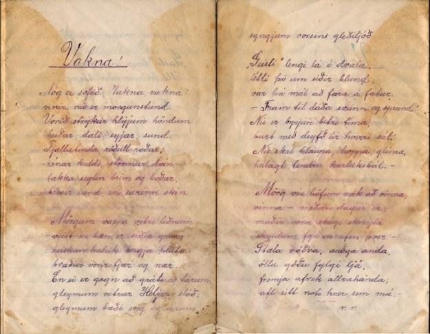 """Ljóðið """"Vakna!"""" sem birtist í sveitablaðinu Geislinn árið 1916"""