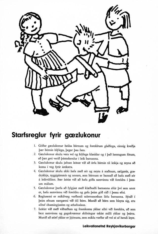 Starfsreglur fyrir gæslukonur.