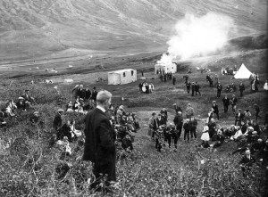 Á sumarsamkomu Ungmennafélagsins Egils rauða í Kirkjubólsteigi árið 1922.