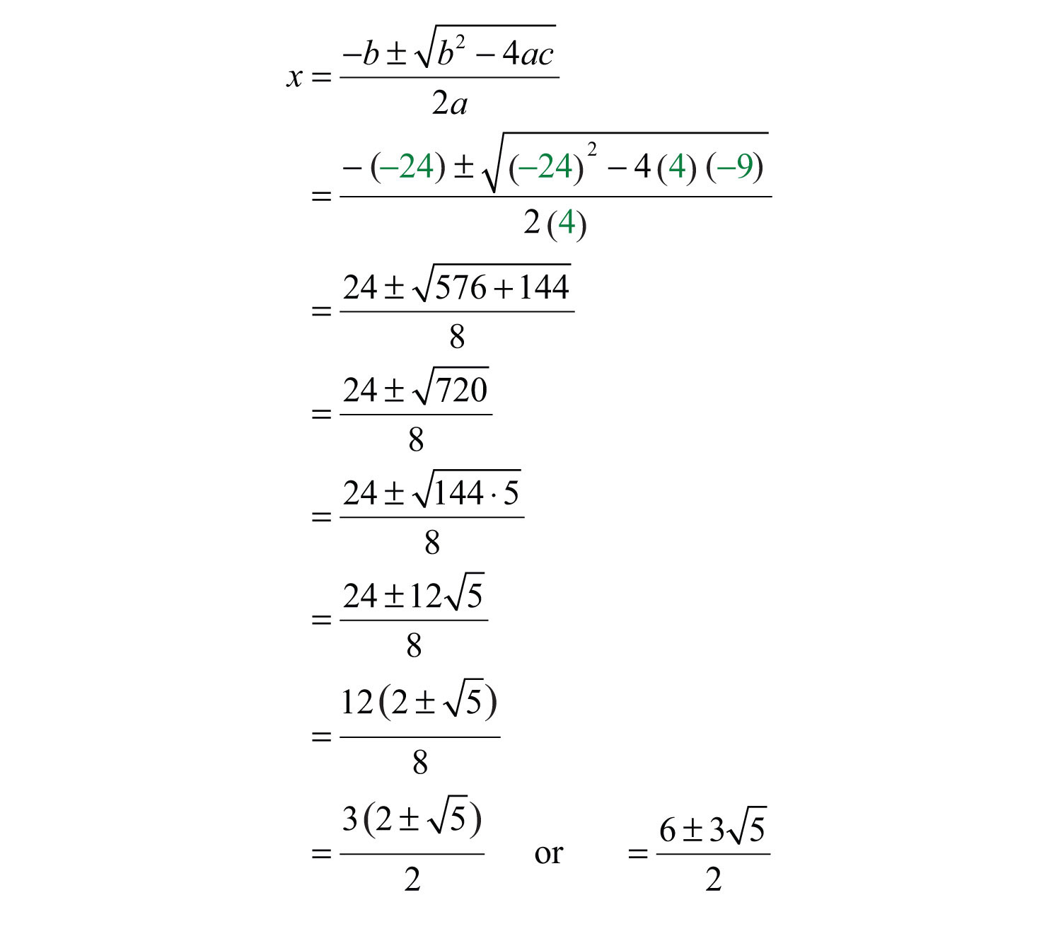 Simplifying Quadratic Formula Worksheet