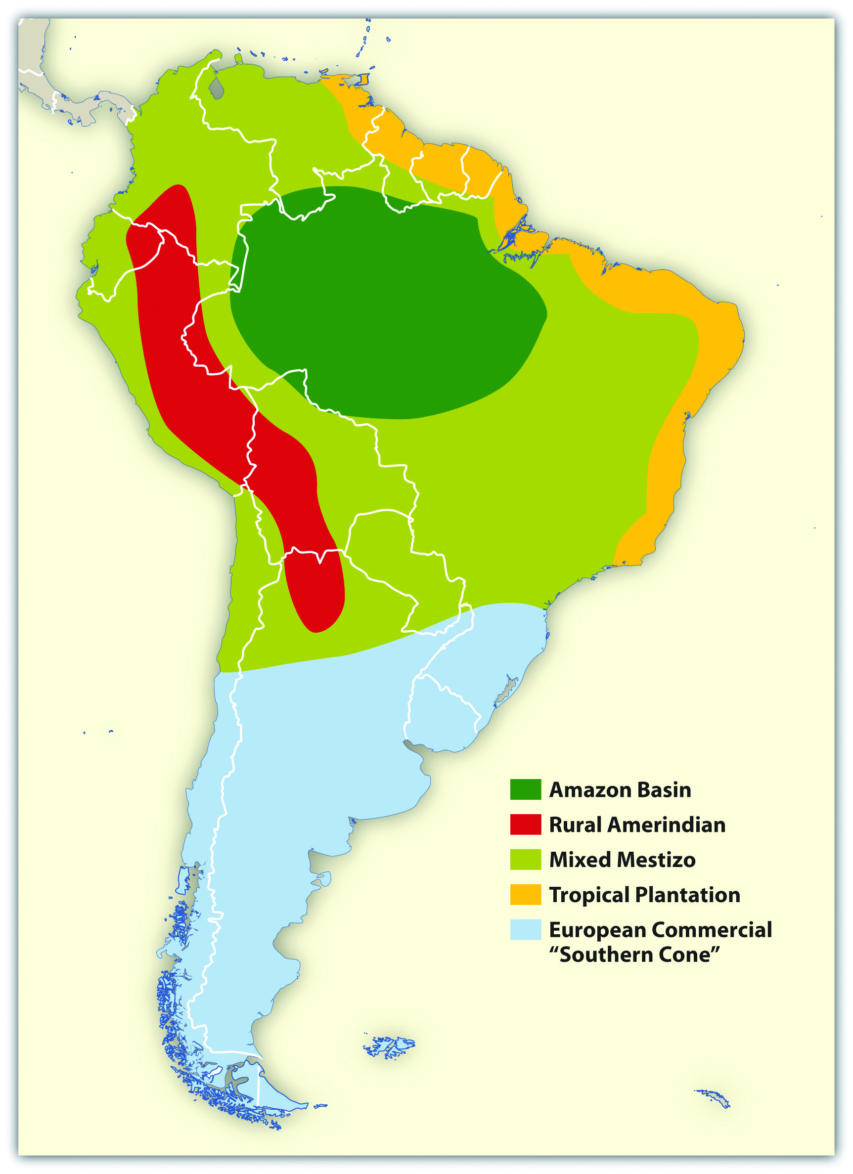 Cultural Spheres Of South America Map