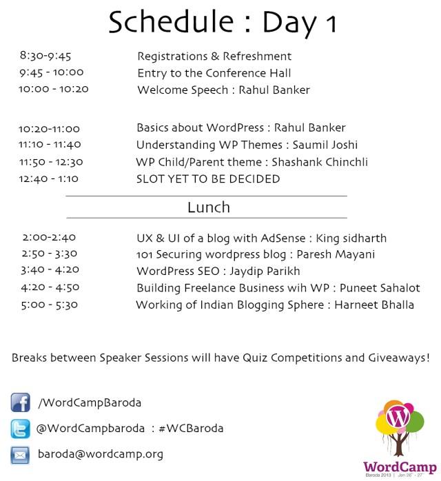 WCBaroda Schedule day 1