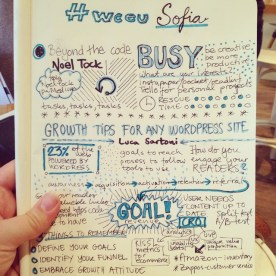 Sketchnotes from the presentations of Noel Tock and Luca Sartoni.