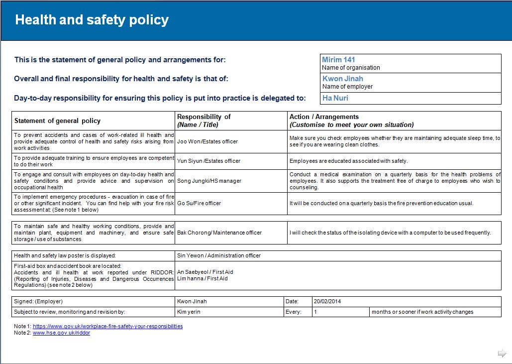 Safety Policy Template. health and safety policy statement ...