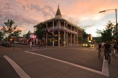 Hotel Weatherford and the Orpheum Theater in Downtown Flagstaff