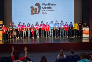 Organizers on stage at the end of WordCamp Croatia 2015 conference day