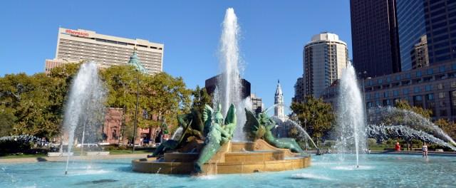 The Sheraton overlooking Logan's Circle Fountain.