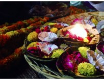 The beautiful flowers we tossed into the Ganga for the Aarti. (Photo by Morgan)