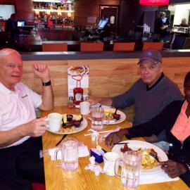 Gary, Bob and Marsye breakfast meeting before trip
