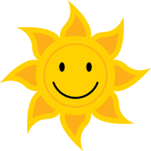 stylized sun with smiley face