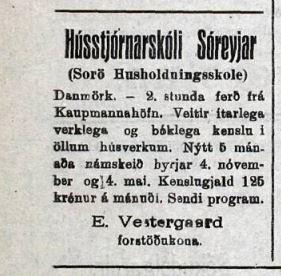 Auglýsing um skóla Vísir 11. sept. 1923.