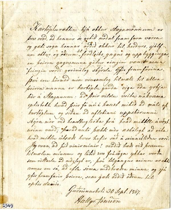 Um kartöflurækt Skagamanna eftir Hallgrím Jónsson 1867.
