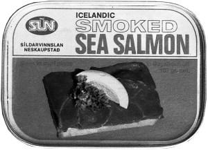 Dós með niðurlögðum sjólaxi frá Síldarvinnslunni.