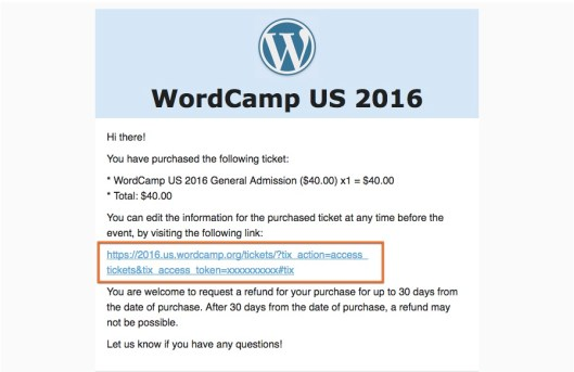 Screenshot of WordCamp US ticket confirmation email with edit link