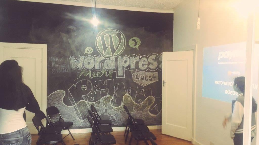 WordPress Meetup graffiti at Moto Republik
