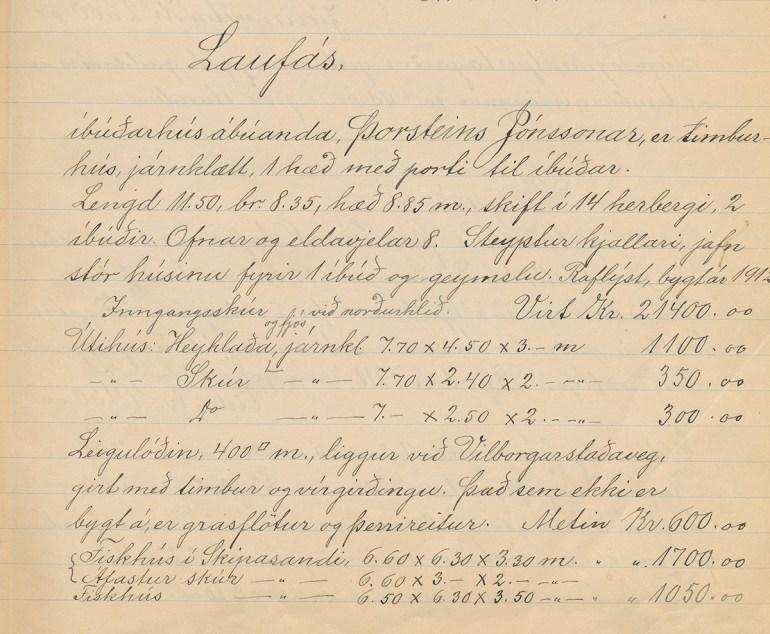 Virðing (fasteignamat fyrir Laufás). Fasteignamatsbók fyrir Vestmannaeyjasýslu 1916-1919.
