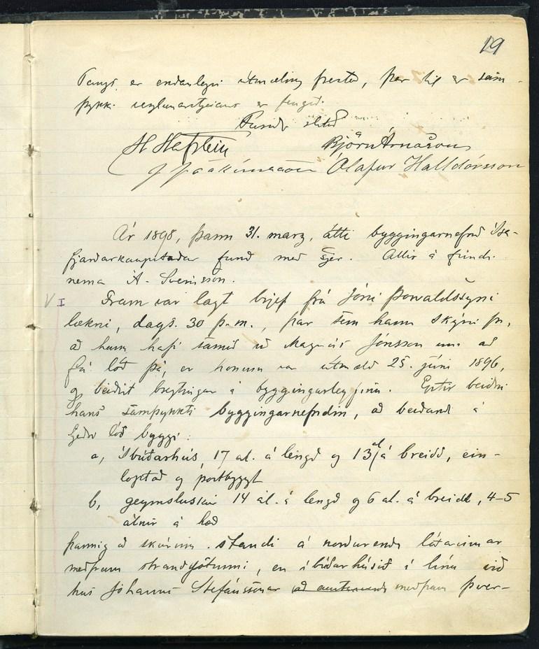 Úr gerðabók byggingarnefndar Ísafjarðar 31. mars 1898 þar sem Jón Þorvaldsson sækir um að fá að byggja íbúðarhús og geymsluskúr.