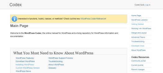 image of WordPress codex