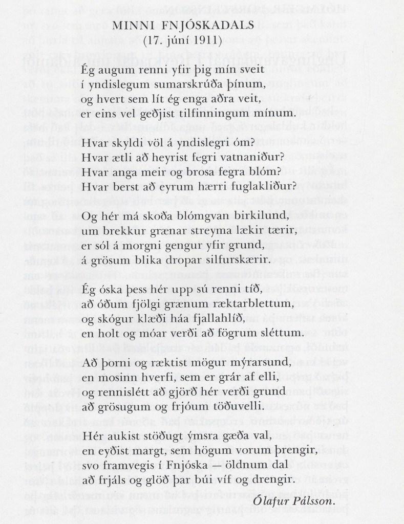 Sýnishorn af skáldskap Ólafs.