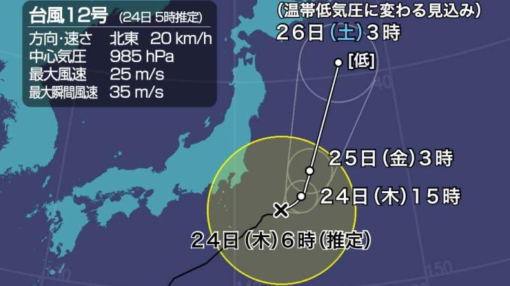 【台風速報】台風12号「ドルフィン」関東の南西沖を北上中。強風や低温に注意。西日本は次の低気圧で強い雨に。9月24日6:20  [記憶たどり。★]
