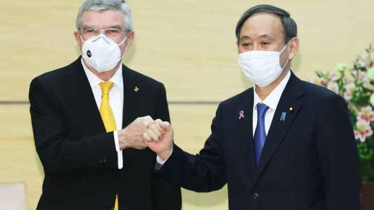 """「五輪開催は人類がウィルスに勝利した証」菅首相が""""N95マスク""""を着用したIOCバッハ会長に語る"""
