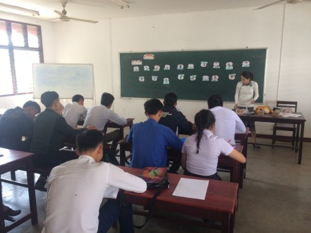 "Akina teaches English to the ""GM2"" students"