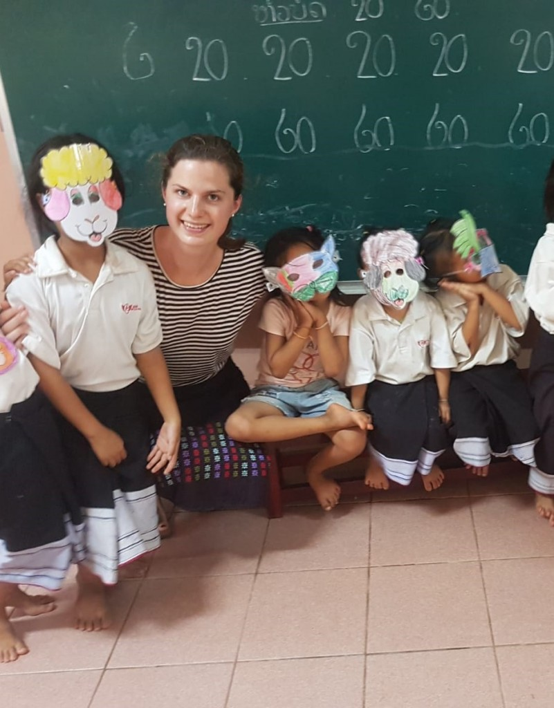 """""""Teacher Natalie"""" and pupils during Activity Time """"Reading Club"""" in a follow-up role play"""