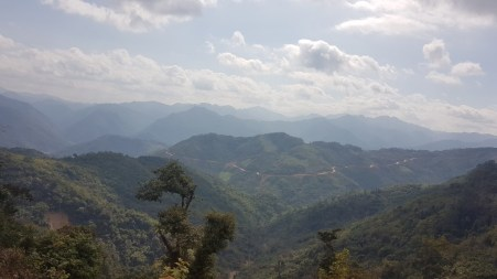 View on the mountains of Houaphan Province on the way to Mount Pha Thi