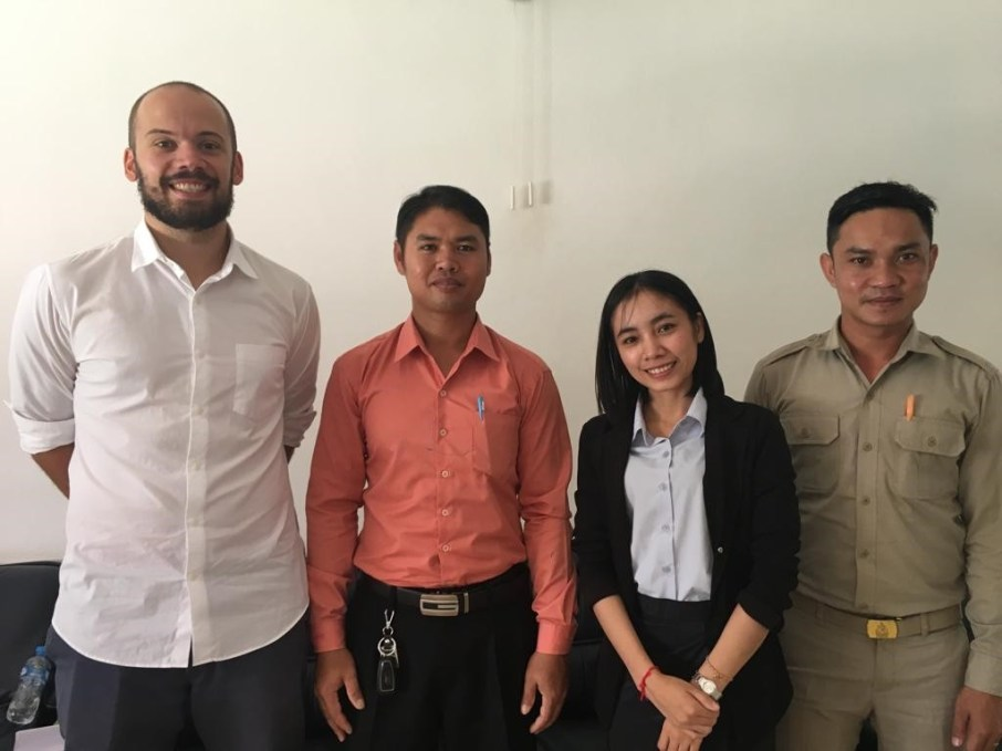 David Schrep, Thaithanawanh Keokaisone, Viengvilaiphone Botthoulath, Napha Khotphoutone in September 2018 after the Erasmus interviews at SKU
